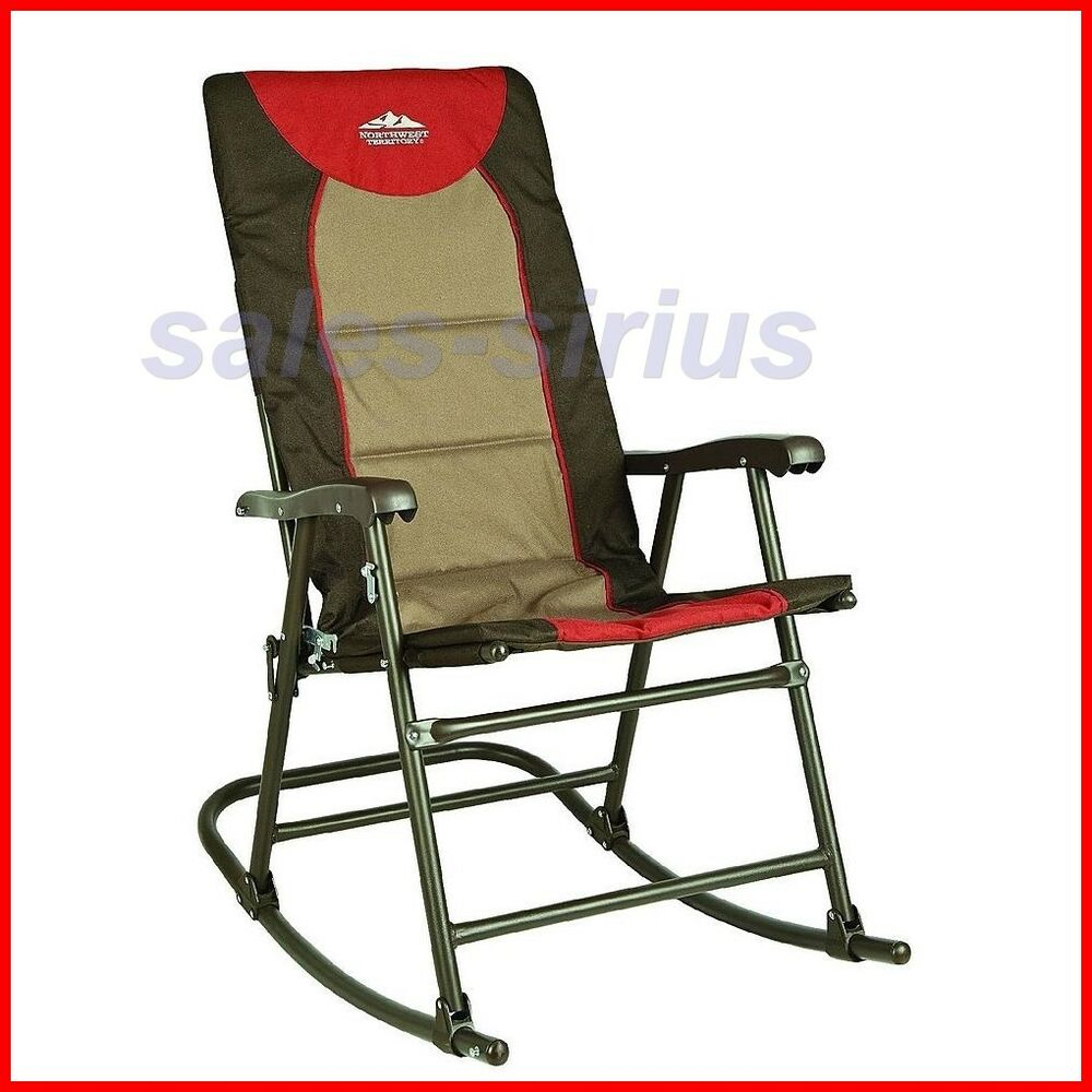 Outdoor Folding Rocker Rocking Chair Camping Hiking Deck Garden Director Rock