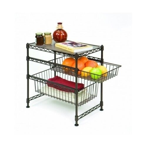 shelf sliding basket storage 2 tier wire rack stand storage organizer set food ebay. Black Bedroom Furniture Sets. Home Design Ideas