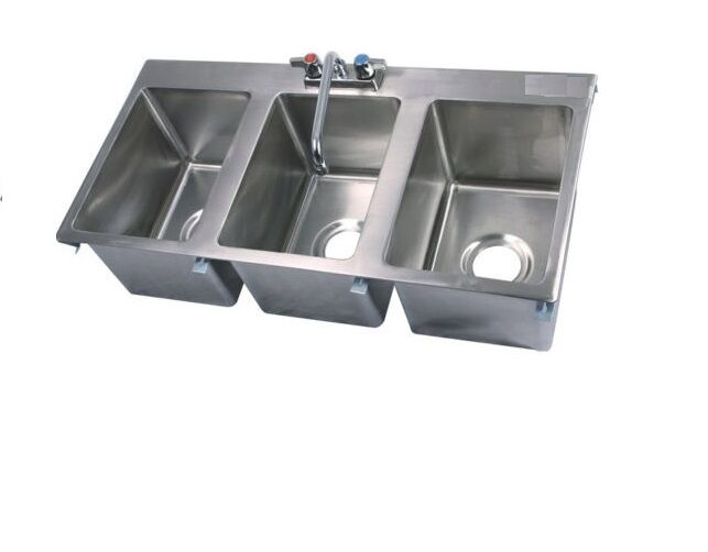 Stainless Steel Commercial (3) Three Compartment Drop In