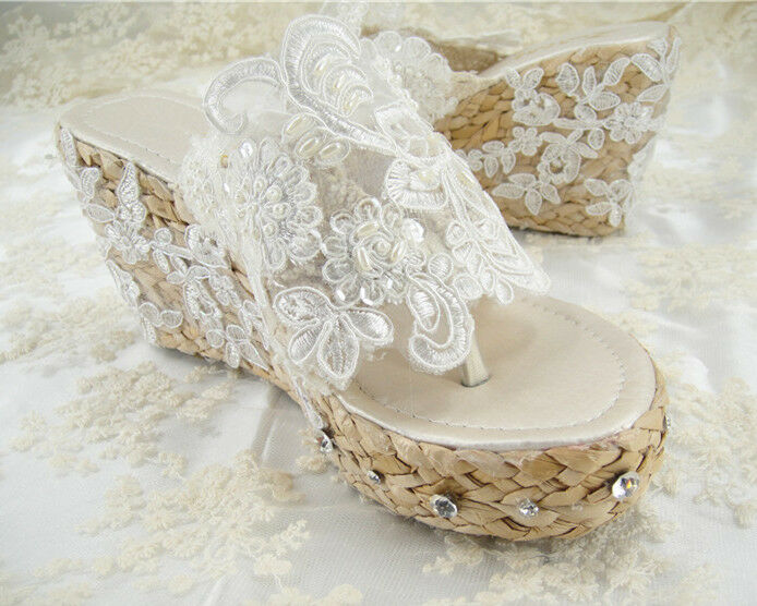Ivory Lace Pearl Wedding Shoes
