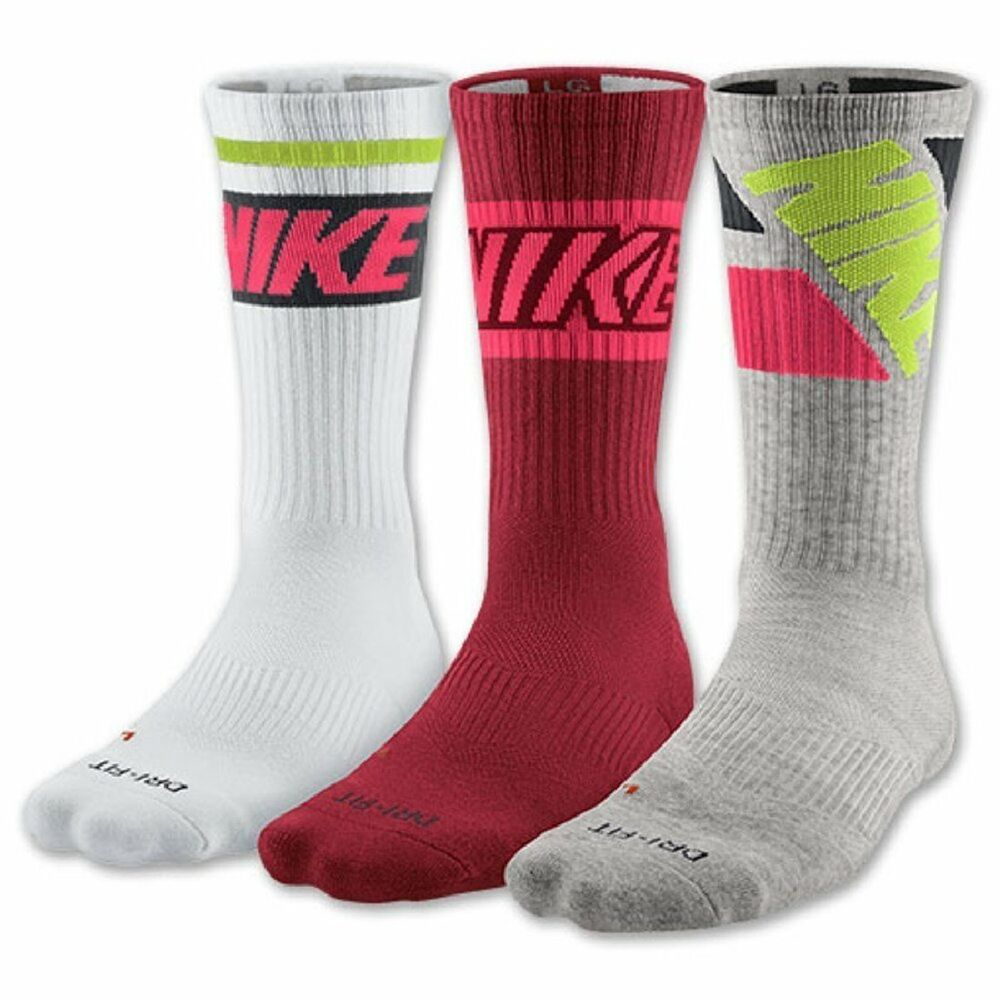 nike 3 pack dri fit cotton crew socks pink white gray. Black Bedroom Furniture Sets. Home Design Ideas