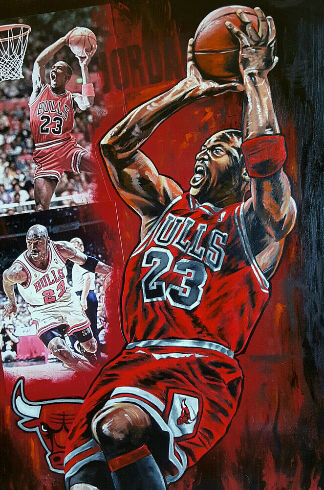 "MICHAEL JORDAN CHICAGO BULLS ORIGINAL 30""X 20"" ACRYLICS PAINTING!!! NBA FINALS - eBay"