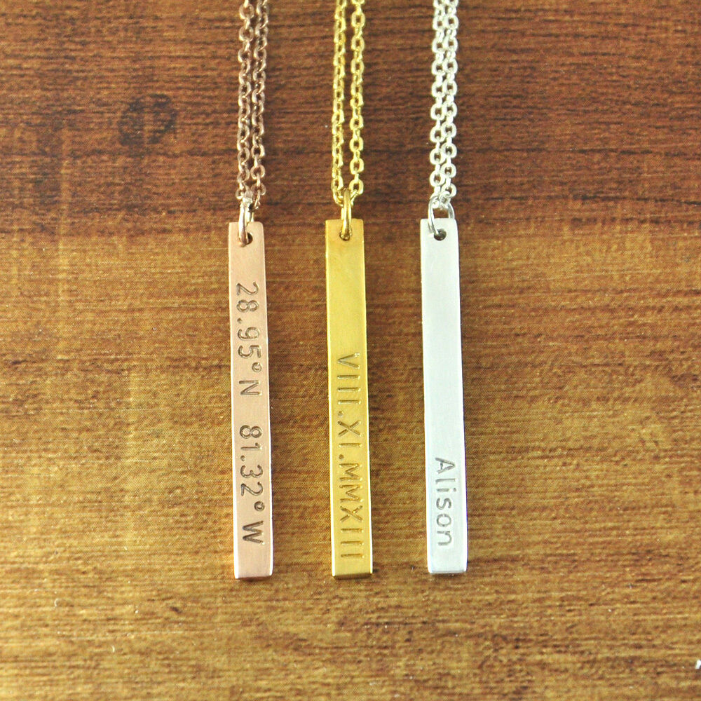 Personalized Vertical Bar Necklace Custom Name Necklace
