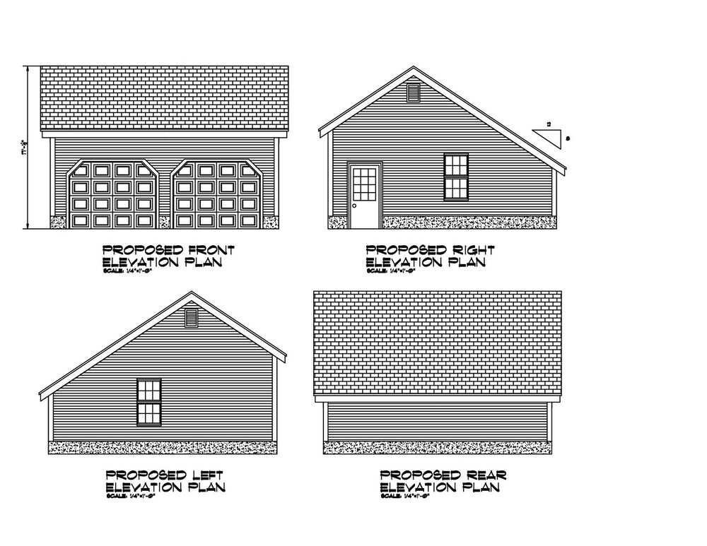 24x24 garage plan salt box roof 24x24 garage print for House plans 24x24