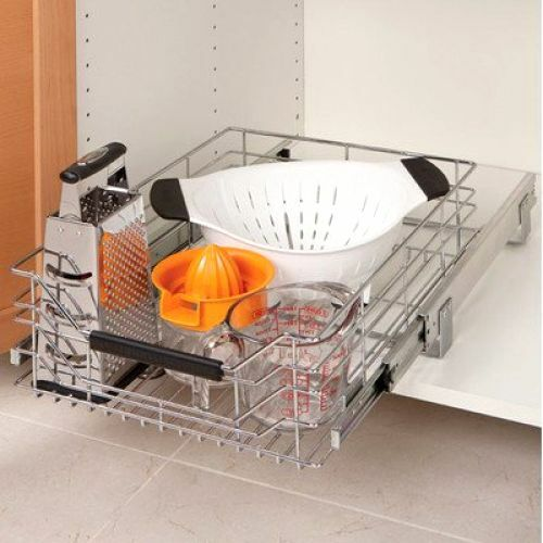 Pull Out Sliding Metal Kitchen Pot Cabinet Storage: Sliding Drawer Wire Storage Shelf Cabinet Organizer Rack