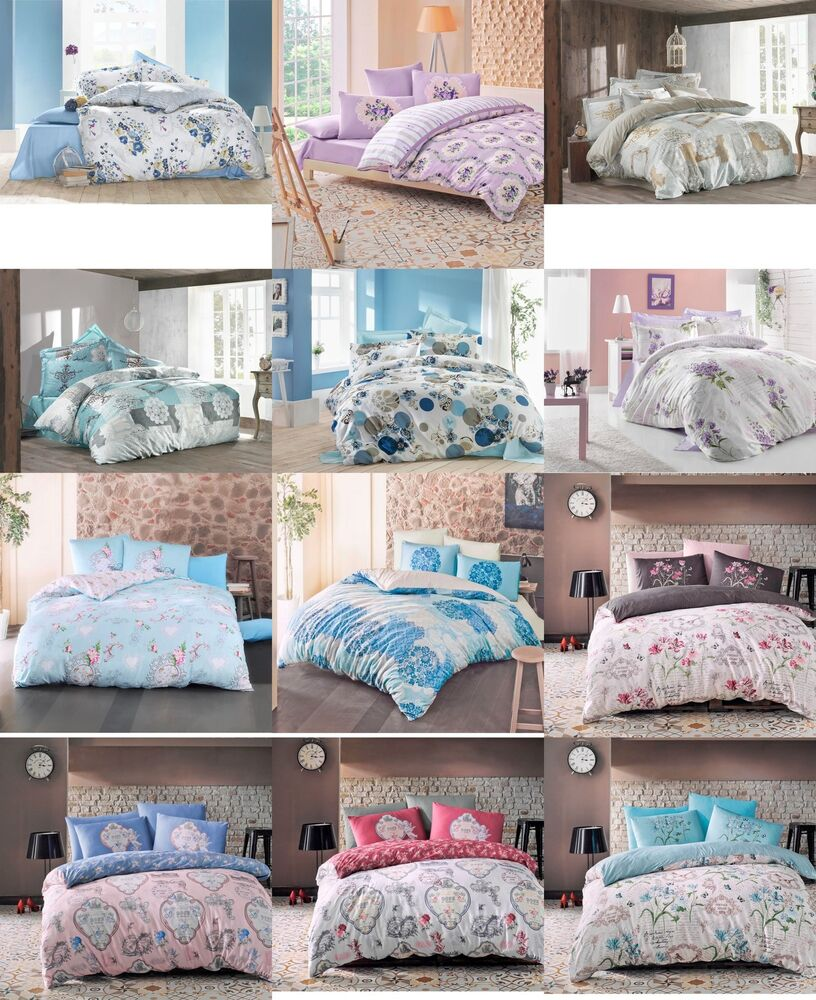 reversible 100 cotton quilt duvet cover bedding set bed cover and pillow cases ebay. Black Bedroom Furniture Sets. Home Design Ideas