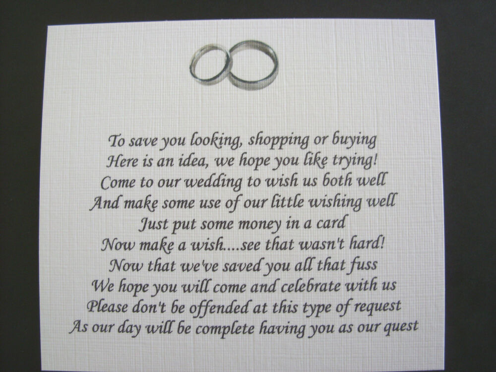 No Wedding Gift List Poem : 20 Wedding poems asking for money gifts not presents Ref No 8 eBay