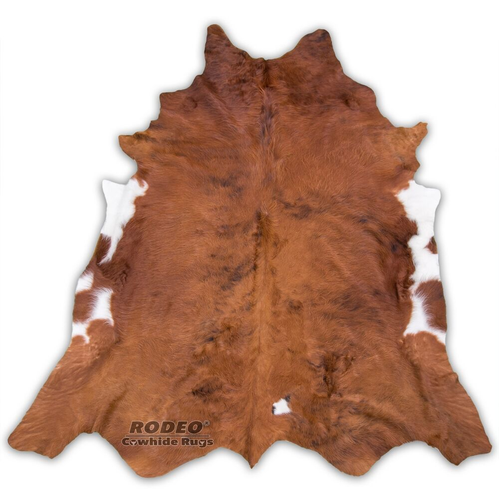 High Quality Rodeo Cowhide Rug Brown With White Edges Ebay
