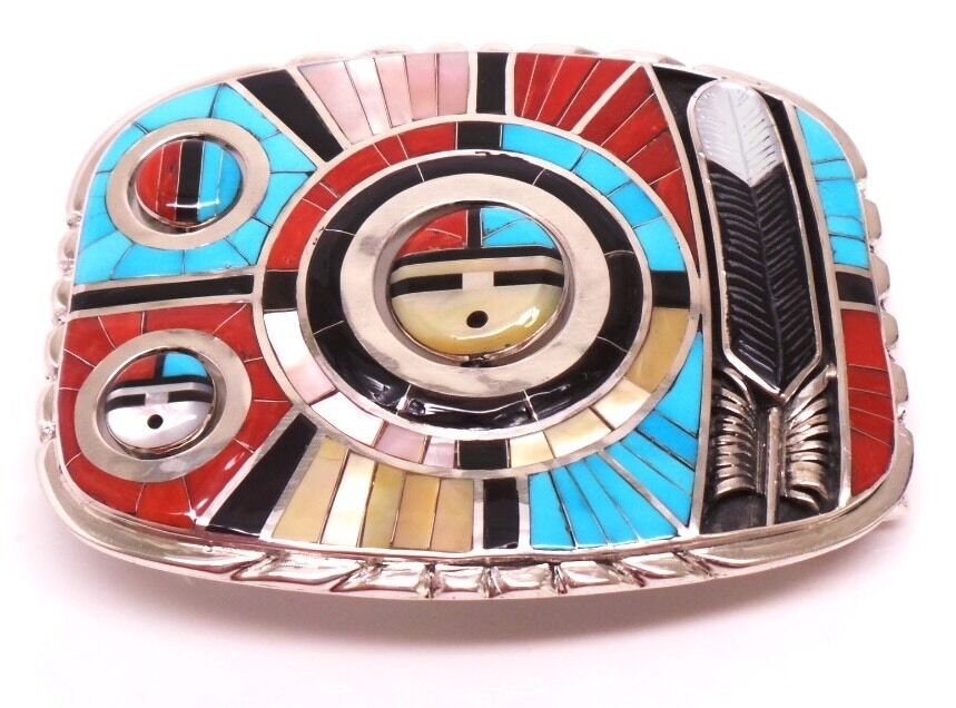 Zuni Sterling Silver Multi Color Inlay Sunface Belt Buckle