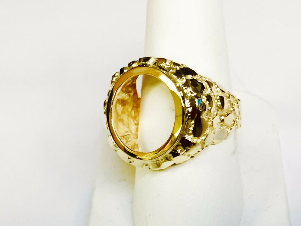 14k Gold 22 Mm Nugget Coin Ring For A 1 10 Oz American Eagle Coin Mount Only Ebay