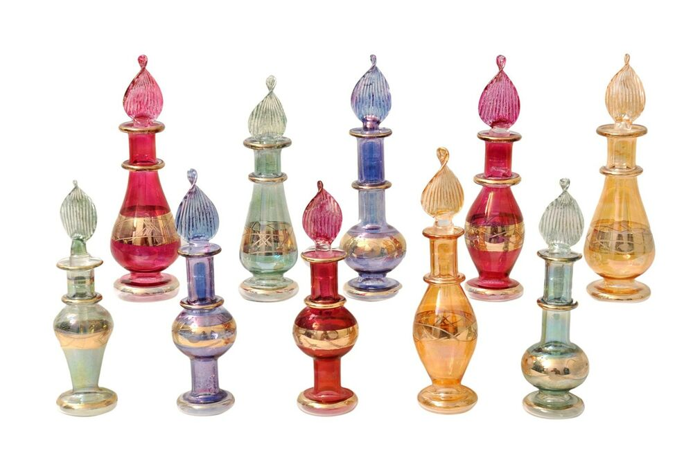 egyptian perfume bottles set of 10 hand blown decorative