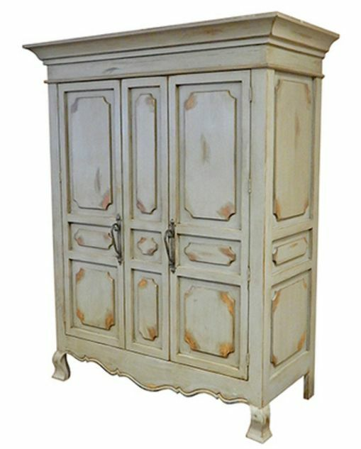 Solid Wood Computer Armoire ~ Rustic door antique grey finish armoire western lodge
