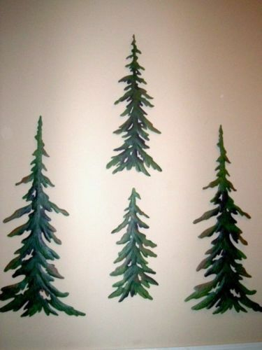 Wall Decor Pine Trees : Pc evergreen pine tree metal wall art rustic timberline