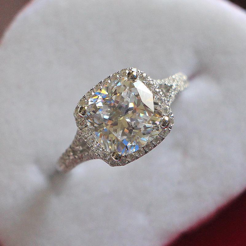 3ct cushion cut engagement ring solid sterling