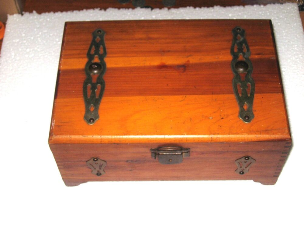 Antique vintage wood iron wooden jewelry trinket box for Vintage antique jewelry box