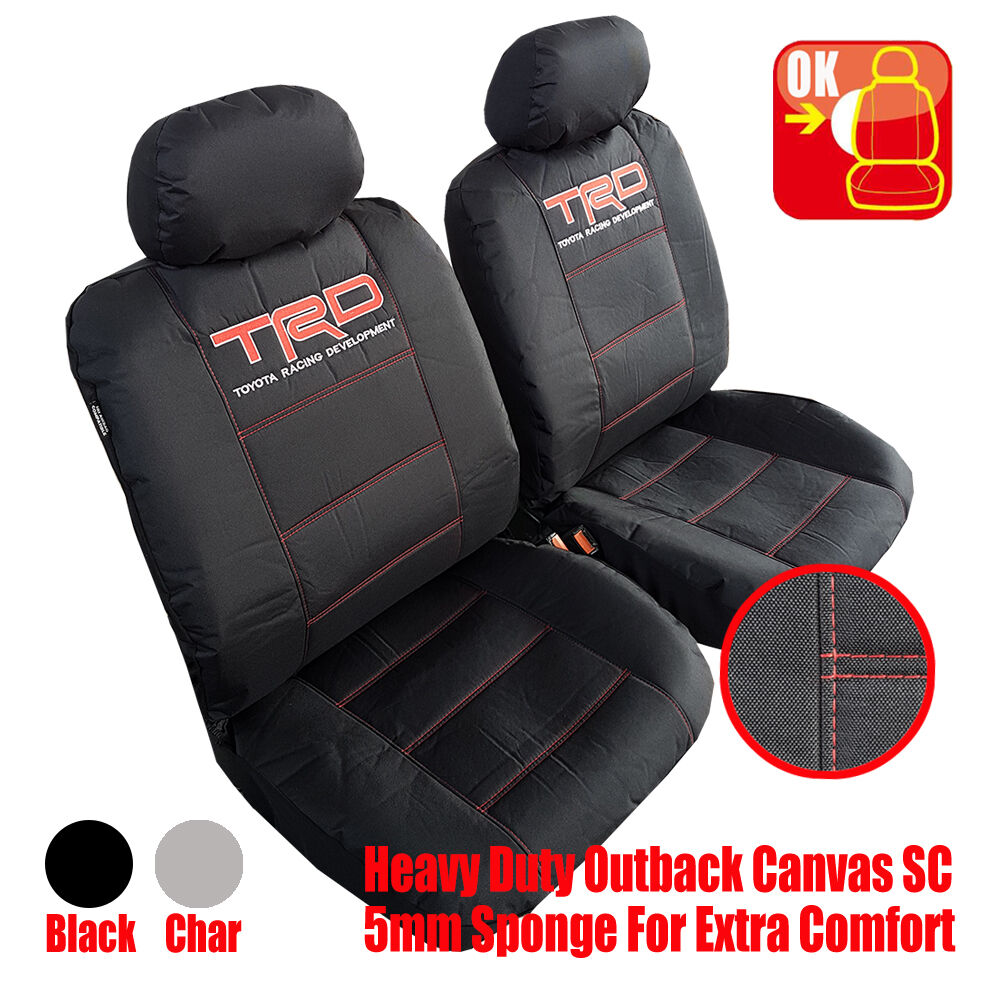 Pair New Trd Black Racing Canvas Car Seat Covers For