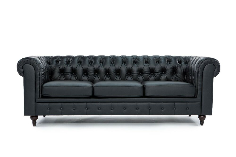 chesterfield modern tufted button black bonded leather sofa ebay. Black Bedroom Furniture Sets. Home Design Ideas