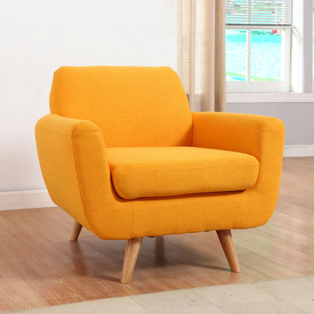 Designer Accent Chairs: Mid Century Modern Yellow Linen Fabric Accent Chair Living