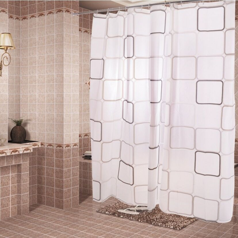 Fashion Modern Geometric Design Bathroom Waterproof Peva Shower Curtain 6 Size Ebay