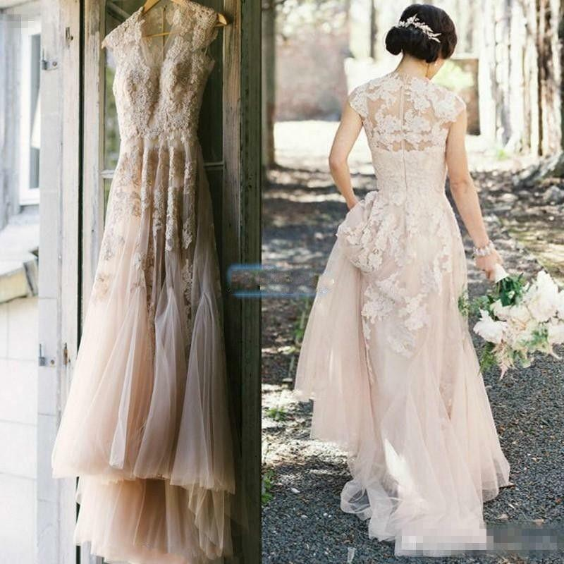 Vintage Style Lace Wedding Dresses: Vintage Blush Tulle Wedding Dresses 2016 Cap Sleeve