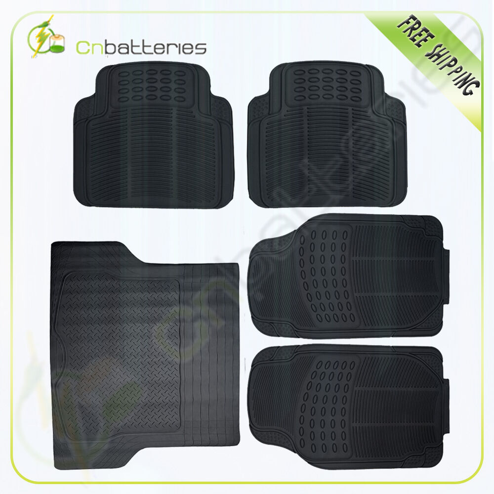 Van Suv Floor Mats All Weather 5 Piece Rubber Mat 3 Row
