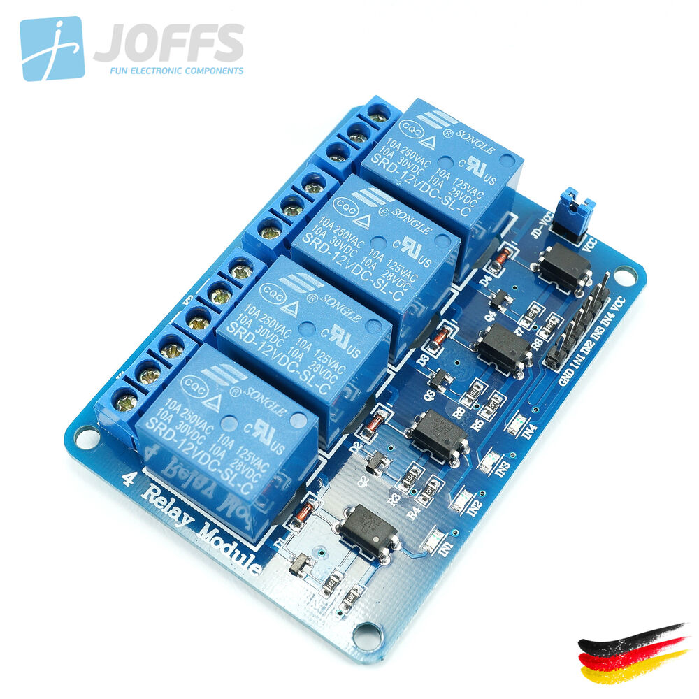 4 kanal 12v relais modul mit optokoppler f r u a arduino. Black Bedroom Furniture Sets. Home Design Ideas