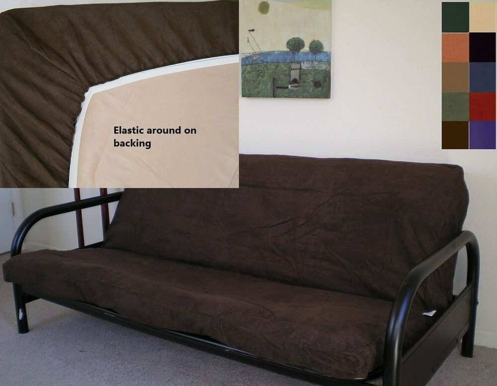 Futon cover elastic microfiber slipcover couch slip sofa bed stretch great fit ebay Slipper loveseat