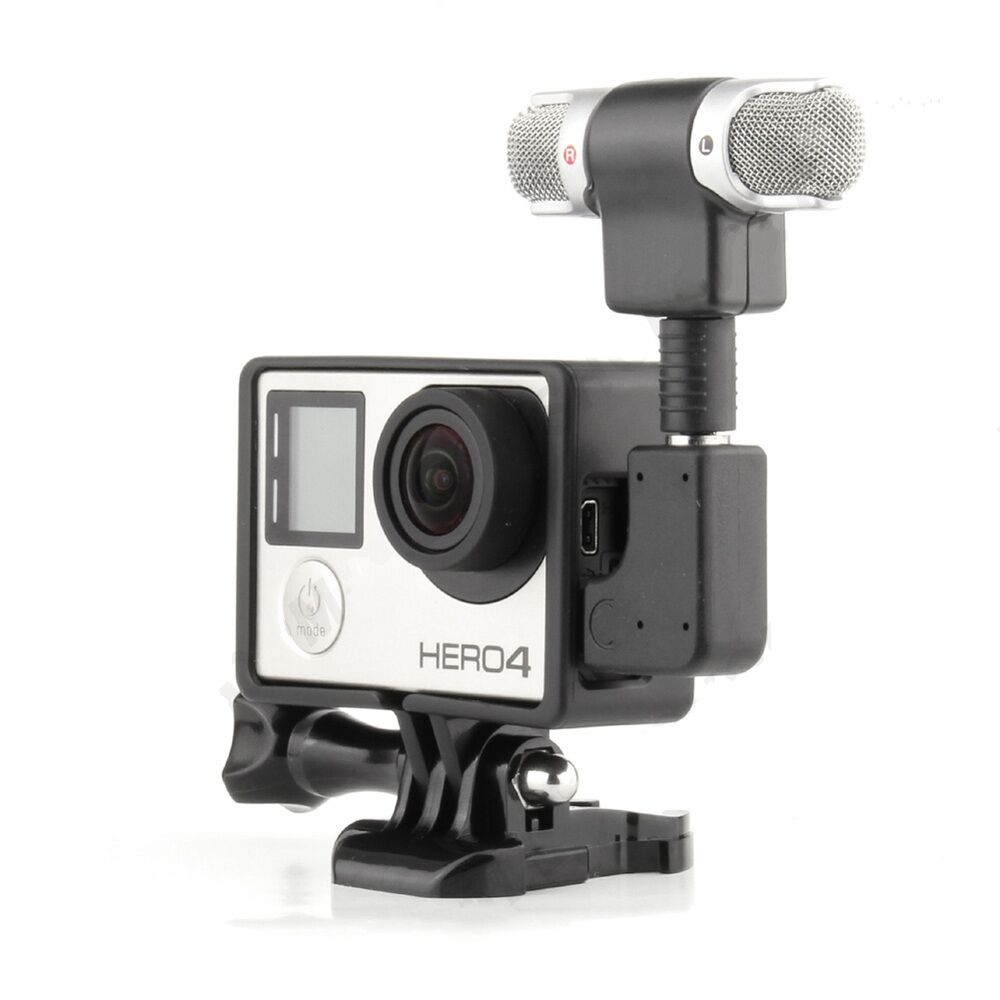 go pro microphone professional audio recording adapter gopro hero 3 3 4 camera ebay. Black Bedroom Furniture Sets. Home Design Ideas