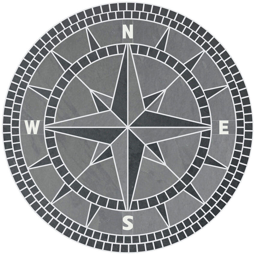 Compass Floor Tile : Quot handcrafted slate tile classic compass rose mosaic