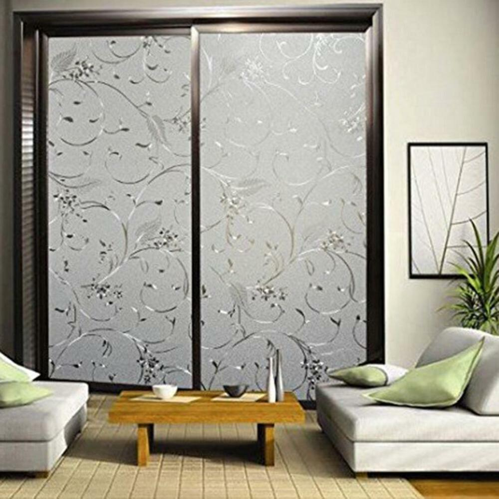 Home frosted glass privacy scroll flower window static for Window scroll