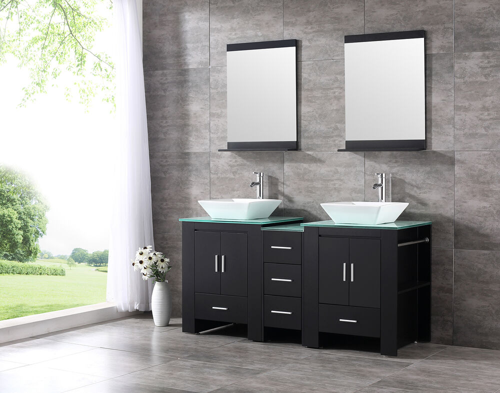60 double ceramic sink bathroom vanity cabinet solid wood modern w mirror black ebay Solid wood bathroom vanities cabinets
