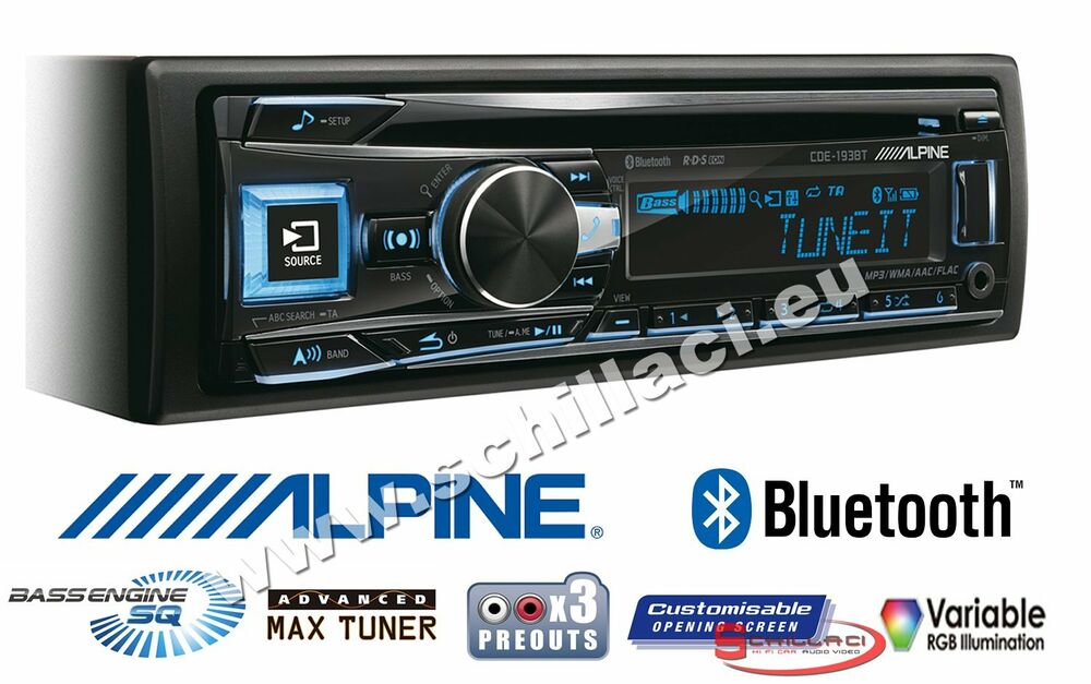 alpine cde 193bt autoradio con allineamento temporale bluetooth e 3 uscite rca ebay. Black Bedroom Furniture Sets. Home Design Ideas