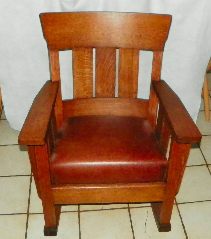 Quartersawn Oak Short Back Mission Rocker Rocking Chair