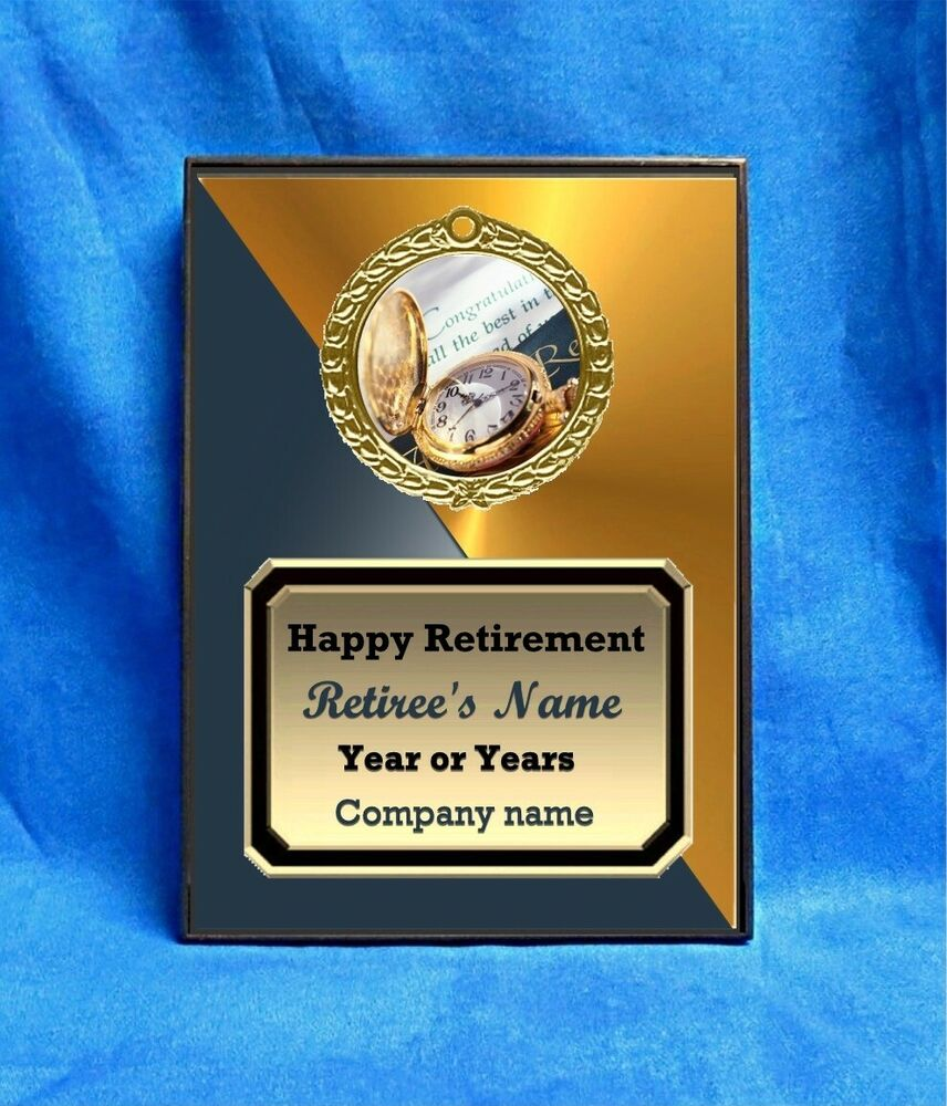 retirement gold watch custom personalized award plaque gift retiring senior ebay. Black Bedroom Furniture Sets. Home Design Ideas