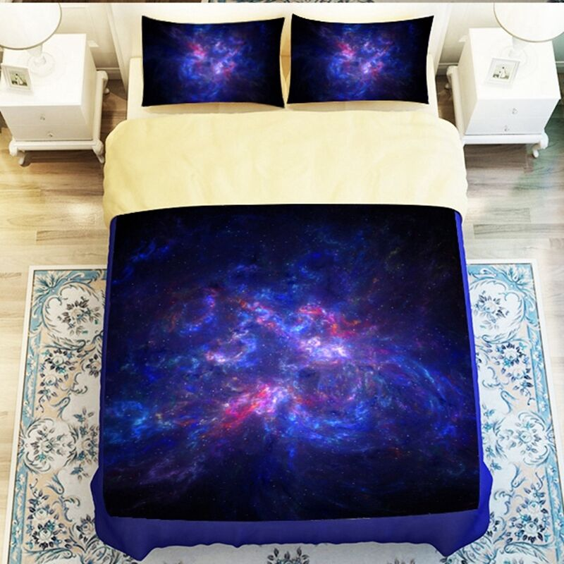 3d galaxy duvet cover set bedding sets universe outer for Outer space bedding