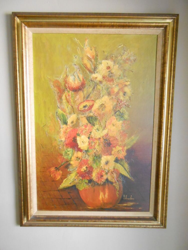 Mid Century 60s 70s Oil Painting On Canvas Abstract