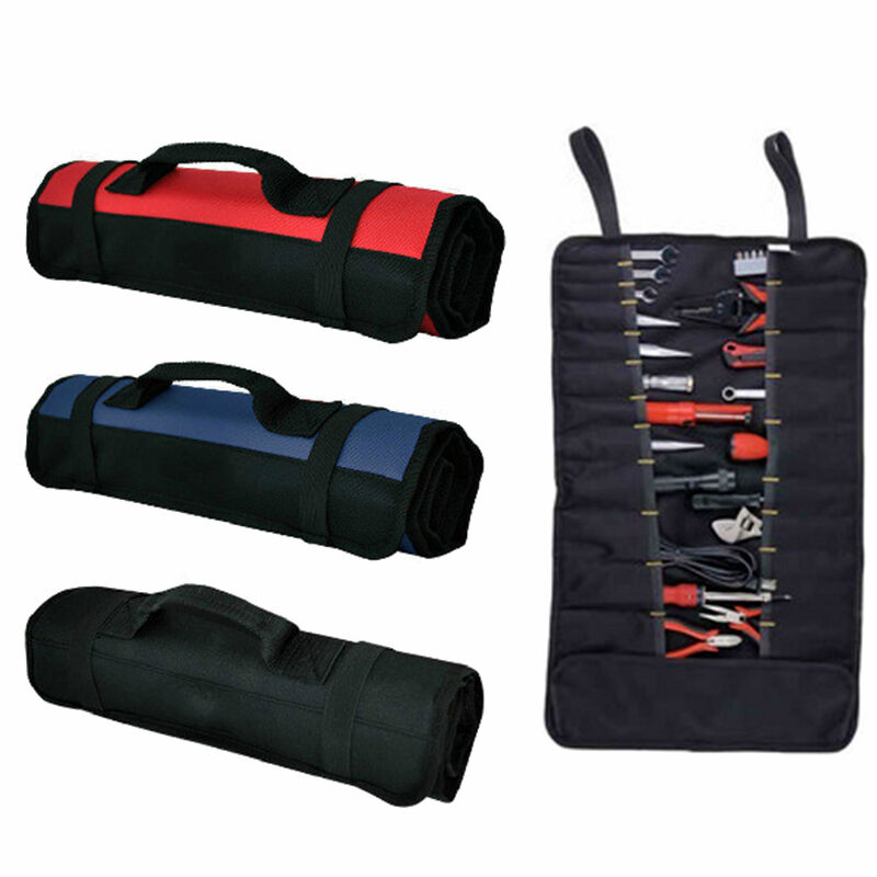 hot 22 pockets hardware tool roll plier screwdriver spanner carry case pouch. Black Bedroom Furniture Sets. Home Design Ideas