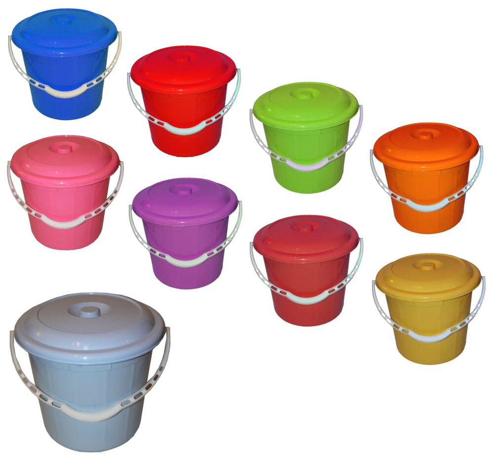 Small Large Plastic Bucket With Lid Carry Handle Storage