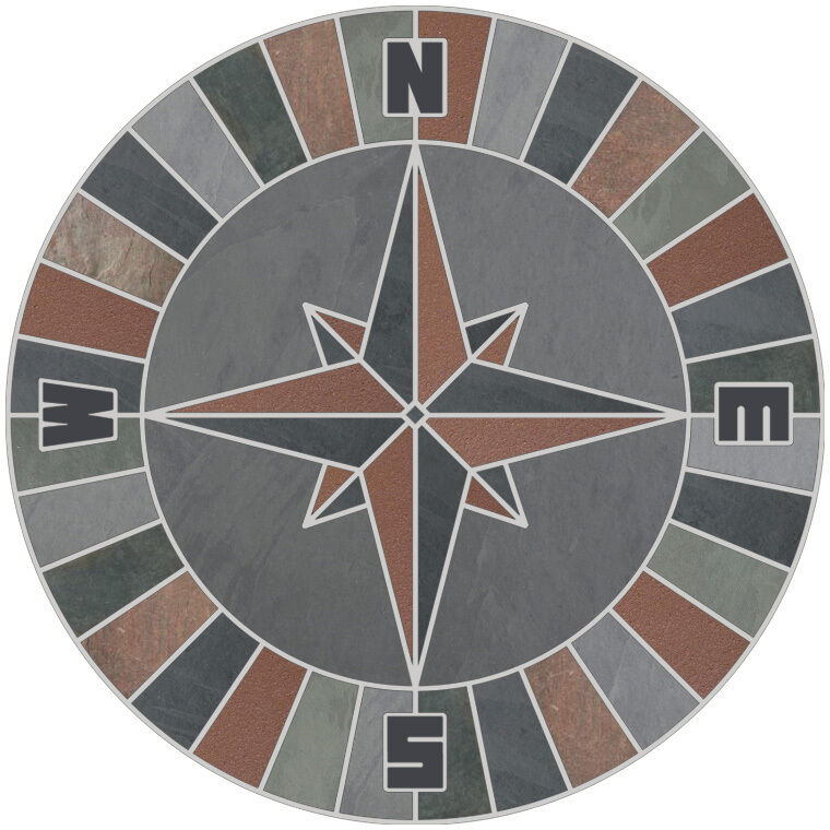Compass Floor Tile : Quot mosaic medallion natural stone nautical compass rose