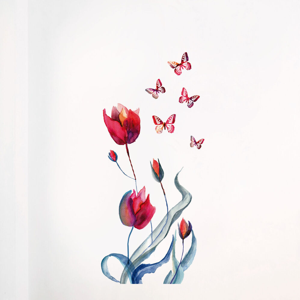 xxl wandtattoo tulpen tulpe schmetterling raum deko wand deko set sticker neu ebay. Black Bedroom Furniture Sets. Home Design Ideas