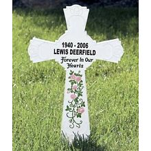 PERSONALIZED - MEMORIAL CROSS MONUMENT CEMETERY GRAVE STAKE REMEMBRANCE NEW!