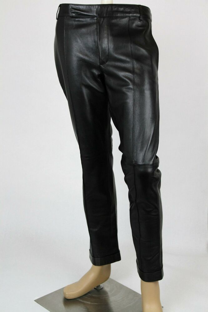 3300 New Authentic Gucci Mens Black Leather Pants 359505