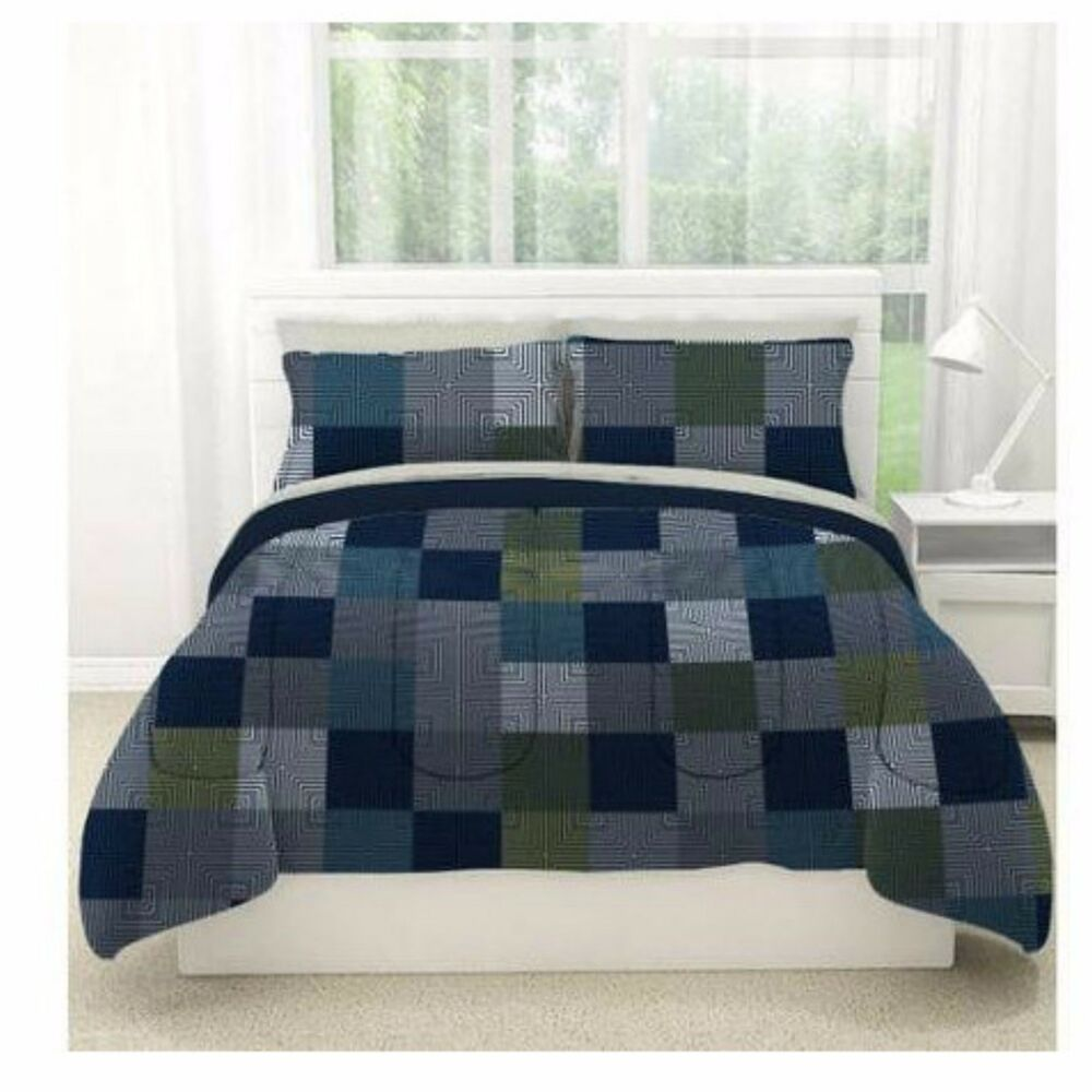 minecraft style bedding queen size comforter bed in a bag sheet set geo blocks ebay. Black Bedroom Furniture Sets. Home Design Ideas