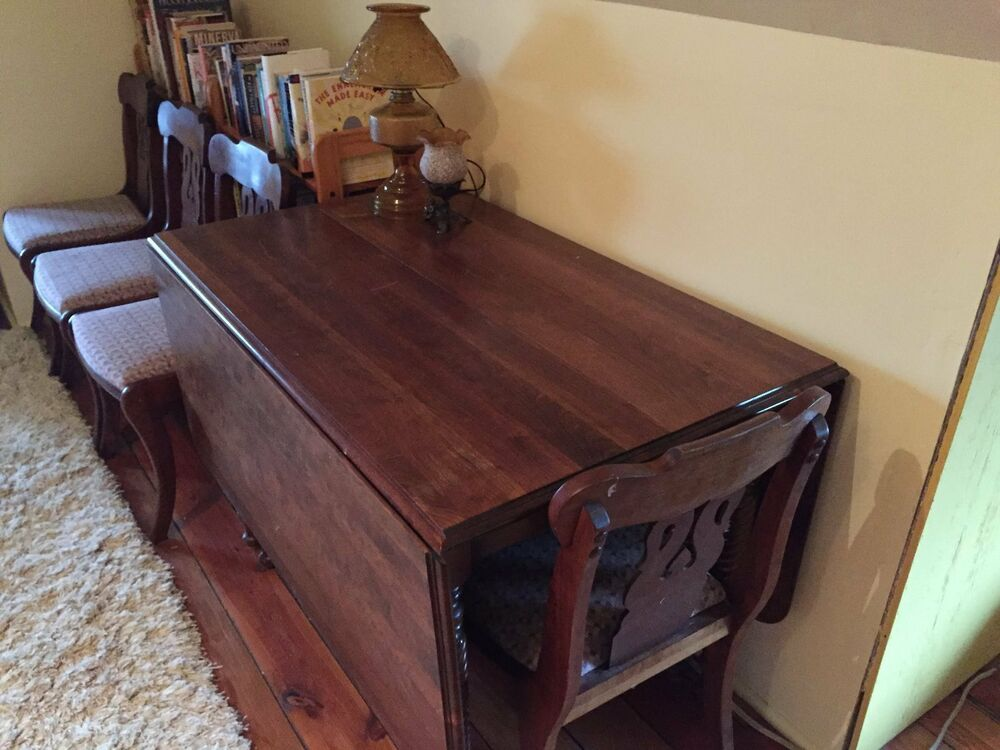 Dining room table and chairs antique cherry wood ebay for Dining room tables 1940s