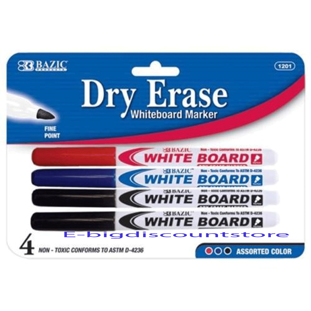4/Pk Dry Erase White Board Markers Fine Point Tip Assorted