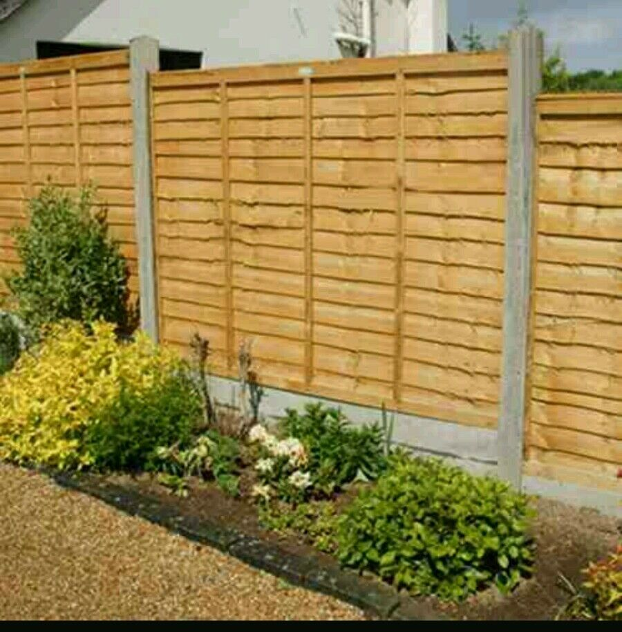 Wooden fence panel larch lap waney ftx ft ebay