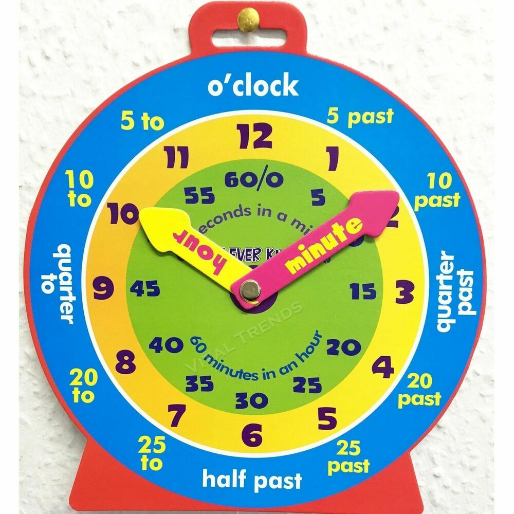Children Teaching Clock Learning To Tell Time Magnetic Back ...