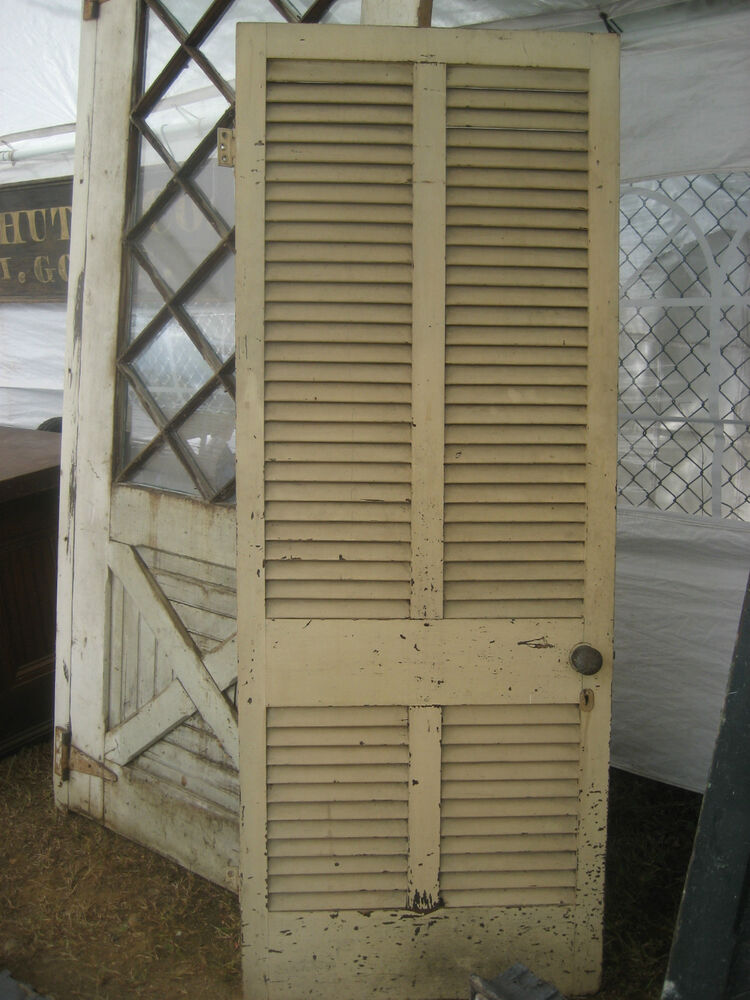 Solid Circa 1890 Victorian Shutter Screen Door W Louvers