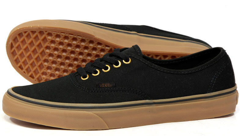 Details about Vans Authentic Mens Womens Black Brown Gum Rubber Sole Skate  Shoes Sizes 1ab49b251