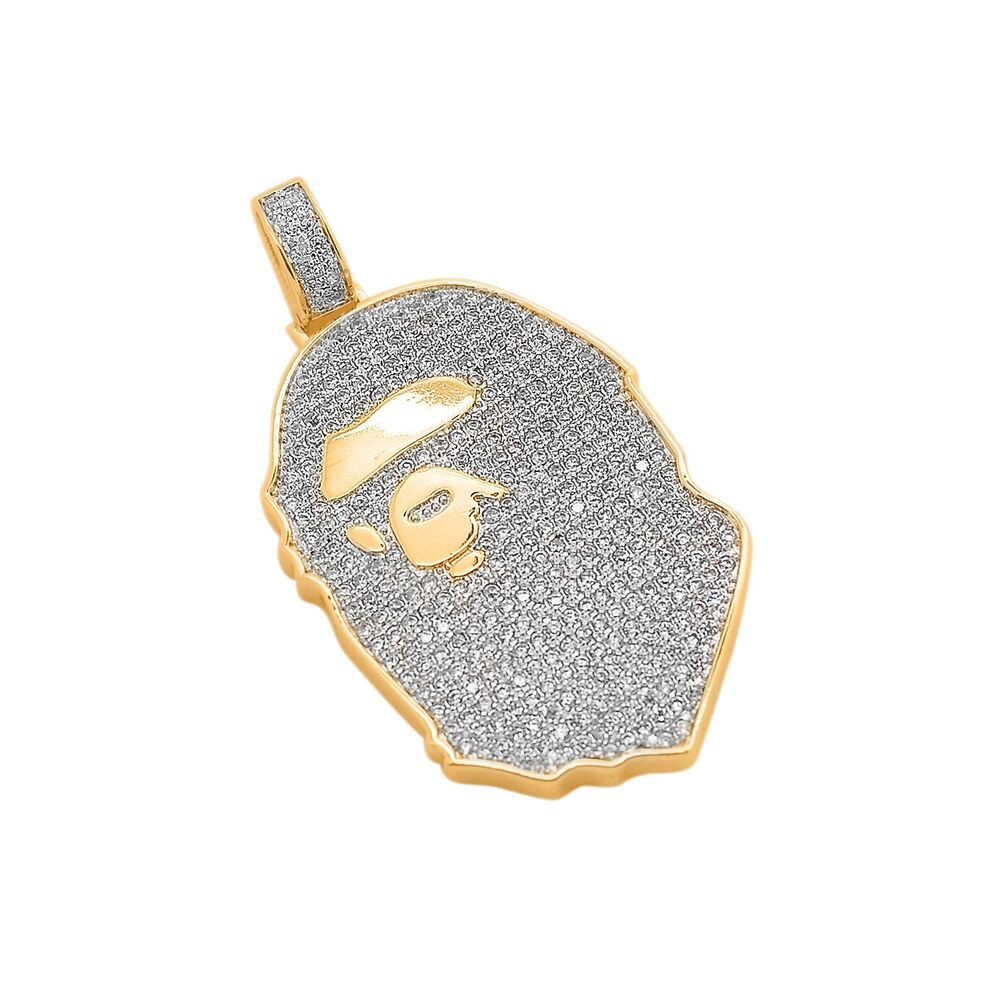 14k gold plated custom iced out bling lab diamond ape for Custom lab made hip hop jewelry